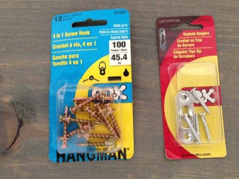 Special drywall screws and hanging hardware for a low-profile hang.