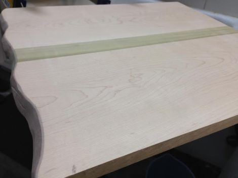 """I made one bigger board with a """"natural edge"""" for some good friends. It was fun to use the sander to create more of an artpiece out of this one."""