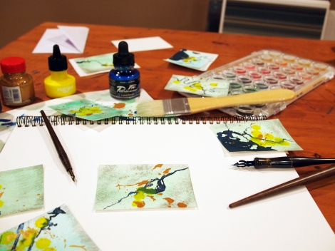 Luckily my wife had some watercolor paints lying around to use.