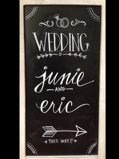 First draft of the sandwich board: the final draft did not have the rings, but added a few more embellishments.