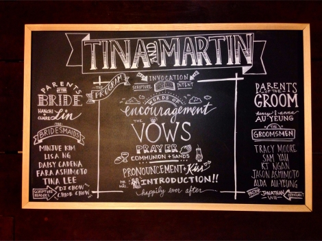 Martin and Tina's wedding chalkboard. Took a while to do, but it was fun. (This was also the first wedding Fara and I got to be in together as bridesmaid and groomsman!)
