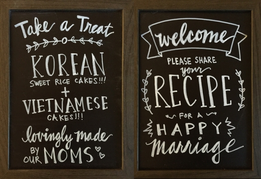 Two small chalkboards for wedding display table tops.