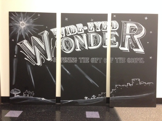 The finished 3 center panels. I experimented with shading and gradients with the chalk ink.